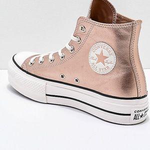 NWOT Converse Metallic beige platform sneaker